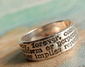 Always Definition, Commitment Ring in Recycled Fine Silver, Eco Friendly Gift for Him, Custom Size - Laurie D.