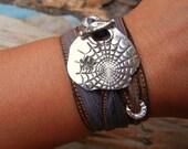 Gothic Jewelry, Goth Tattoo Silver Bracelet, Goth Spider Web Jewelry, Goth Fashion Trend, Gothic Silk Ribbon Wrap Bracelet, Goth Jewelry