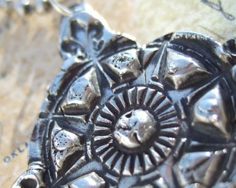 Fine and Sterling Silver Compass Necklace, Persistant Wanderlust, Free Spirit Vintage CompassJewelry, Artisan Jewelry, Travel Jewelry