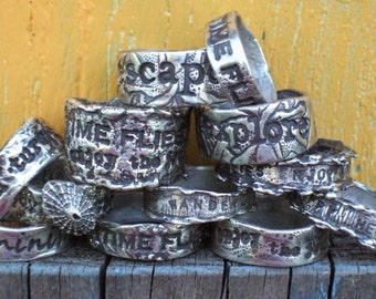 A Pair of His and Hers Personalized Custom Rings, Inspirational Quote Jewelry, in Solid Fine Silver, SIzes 4 5 6 7 8 9 10 11 12 13 14 15