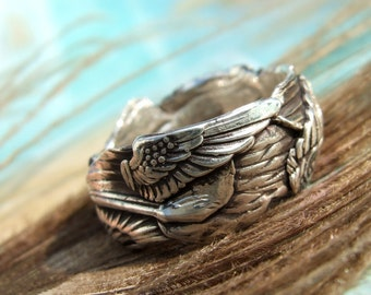 Unique Silver Jewelry, Silver Ring, Gathered Wings, Custom Size Ring in Oxidized Fine Silver, Whole Half Sizes 4 5 6 7 8 9 10 11 12 13 14 15