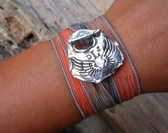 Monogram Bracelet, Silk Ribbon Wrap Bracelet, Silver Angel Wings Toggle, Custom Jewelry Initials, Monogram Gift, Eco Friendly Gift for Her