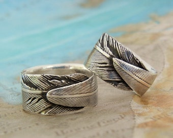 Custom Wedding Rings, His and Her Matching Pair of Rings, Feather Jewelry, Eco Friendly Recycled Silver, Size 4 5 6 7 8 9 10 11 12 13 14 15