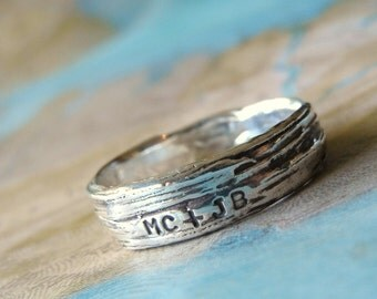 Rustic Bark Ring, Personalized Silver Jewelry Lover's Ring Initials Sterling Silver Tree Bark, Custom Wedding Band, 5 6 7 8 9 10 11 12 13 14
