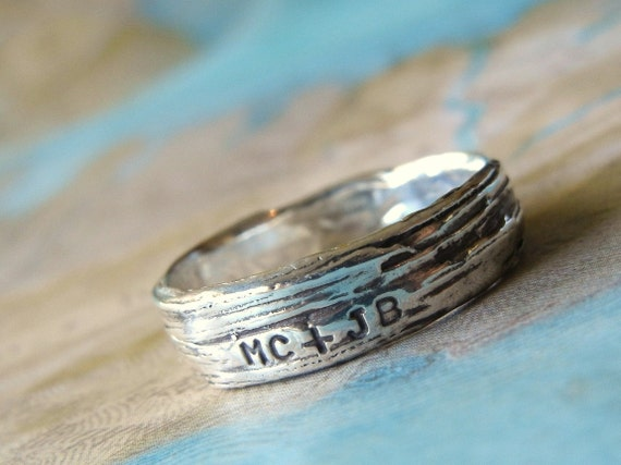 Rustic Bark Ring, Personalized Silver Jewelry, Lover's Ring Initials, Fine Silver Tree Bark, Custom Wedding Band, 5 6 7 8 9 10 11 12 13 14