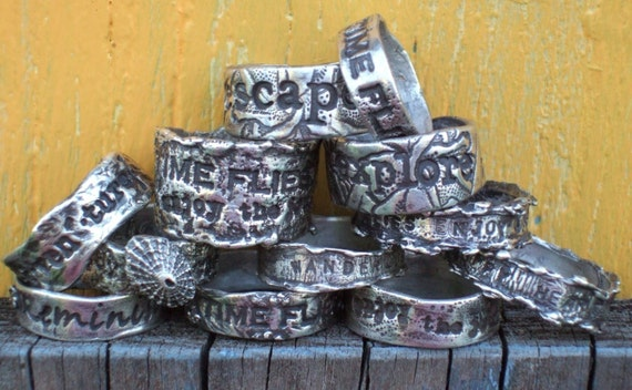Personalized Custom Solid Silver Rings, Any Size, Any Quote