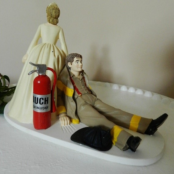 fireman cake toppers for wedding cakes items similar to fireman firefighter wedding cake topper 14270