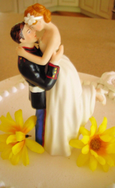 USMC Marine Corps Wedding Cake Topper HUG Pose Bride Uniform