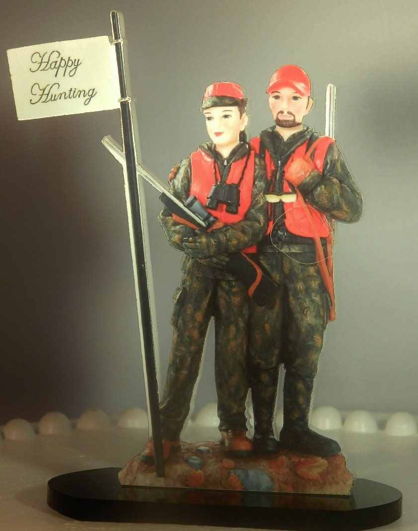 Deer Camo Hunter Hunting Couple Wedding Cake Topper Guns