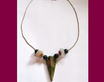 Unakite Arrow and Lampwork Beads