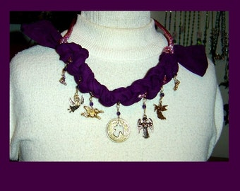 Purple Crocheted Scarf Necklace with Angels