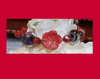 Carved Carvelian Flower, Coral and