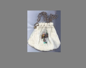 Vintage White Crinkle Fabric Button Bag