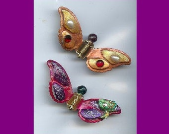 2 Butterfly Hairclips