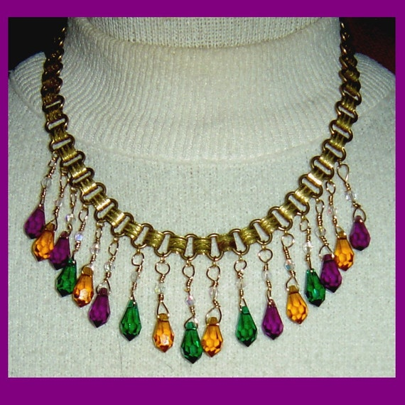 Green Purple Yellow-Orange Crystal Dangles on Vintage Brass Embossed Chain