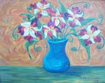 Print Fresh Bouquet Lovely Colors Van Gogh Feel