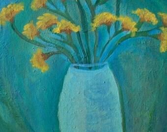"Original Modern Art Floral Painting, Yellow Statice"""