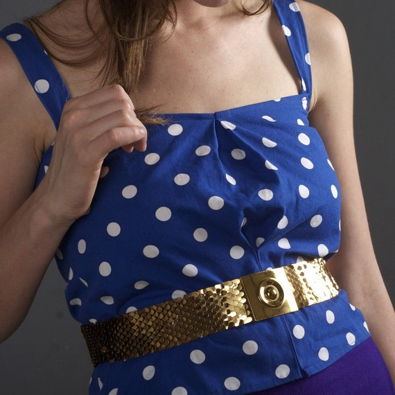 Blue and White POLKA DOT Cami Tank Top - S\/M