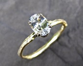 Oval White Sapphire Twig Ring in Yellow Gold