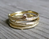 Chocolate Diamond Twig Rings, Set of 3 in Gold