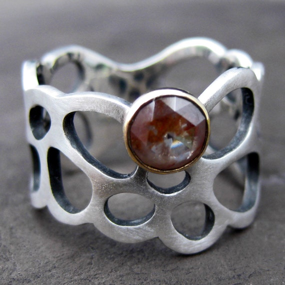 SALE: Rose Cut Diamond Lichen Ring in Sterling and 14k