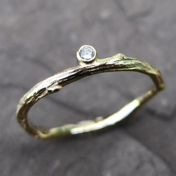 Diamond Twig Stackable Ring in 14k Gold