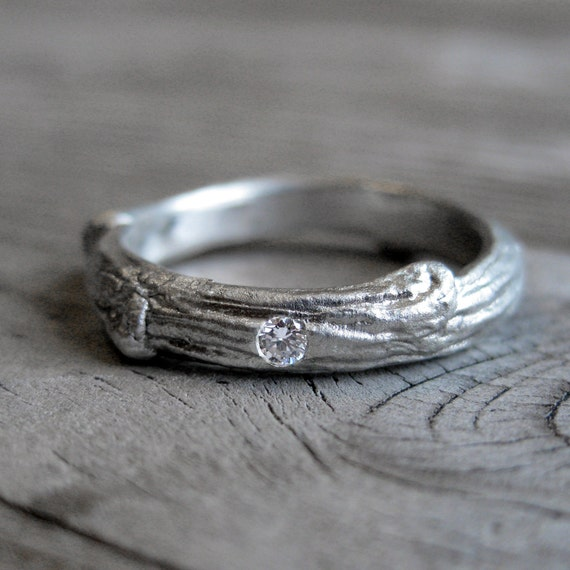 Diamond Twig Band, 3mm in Sterling Silver