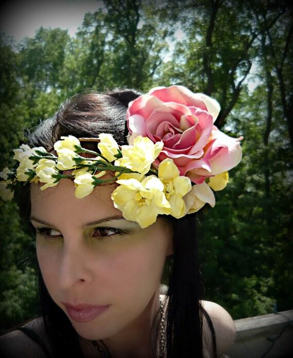 50 PERCENT OFF Tiklatset -  Rose and Delphinium Fae Crown