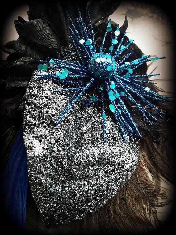 Glitter - Blue and Black Hair Clip