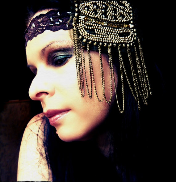 Flapper Headband with Chains and Beaded Textiles