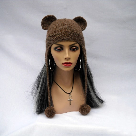 Fuzzy Wuzzy Was a Bear Hat Knit Beanie with Bear Ears and Earflaps - Washable
