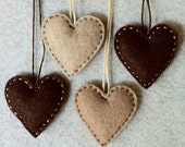 Chocolate brown and mocha and oatmeal felt ornaments ready to ship
