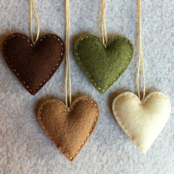 Chocolate brown, mocha and cream and olive/moss green felt ornaments ready to ship
