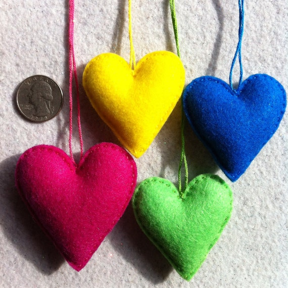 Bright yellow, blue, green, and pink felt heart ornaments ready to ship