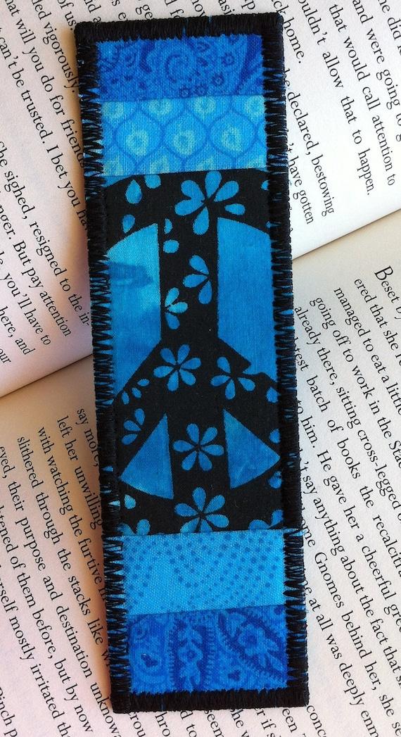 Quilted Fabric Bookmark in aqua black turquoise blue batiks