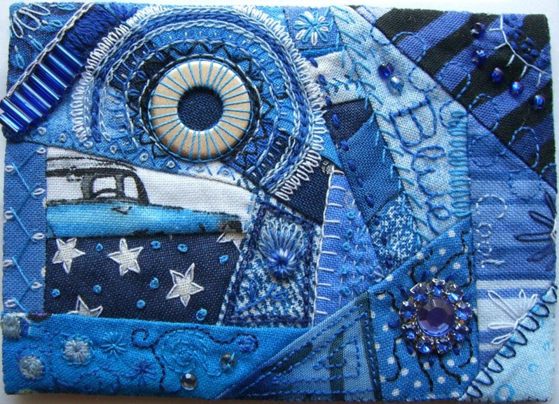 Aceo Mini Crazy Quilt Textile Art Cool Blue
