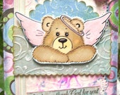 Handmade Stamped I Thank God for You Greeting Card with Bible Verse and Adorable Angel Bear Image