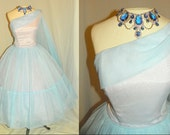 1950's Blue CHIFFON One Shoulder Grecian Cocktail Dress Vintage 50's Mad Men Couture Sash Train Formal Wedding Party Dress