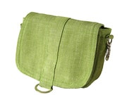 Saddle pouch in clover ribbed canvas