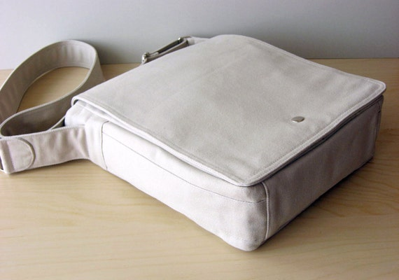 Messenger Bag in Stone, Italian Twill, Canvas Messenger Bag, Laptop Bag, Messenger Diaper Bag