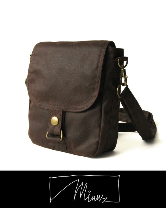 Waxed Canvas Hip Bag, Waxed Canvas Bag, Waxed Canvas Pouch - The Minus Hipster Plus in Brown Waxed Canvas