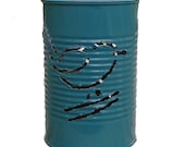 Lantern Tin Can Bird and Flower Teal Upcycled