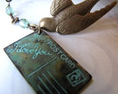 Black Friday - Cyber Monday SALE  15% off - Air Mail - Romantic Love Note Brass Necklace