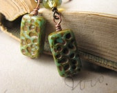 Urban Nature - Copper and Glass Earrings