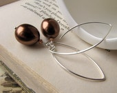 Sterling Silver Earrings, Pearlized Agate, Chocolate Truffle, Chunky and Modern
