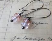 SALE, Blush Pink Handmade Glass Earrings, Gunmetal, Kidney Style Earwires, Blushing Bride