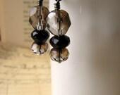 SALE, Save 46%, Jet Black, Crystal, Elegant Glass Bead Earrings, Dinner Date Series