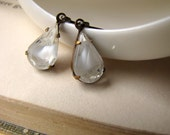 White Frost, Vintage Glass Jewel Earrings, Winter Storm, Ice, Old Hollywood, Estate Style Jewelry