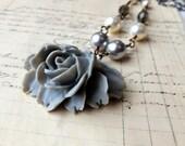 Grey Rose Necklace, Elegant Pearls, Romantic Flower