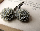 Grey Flower Earrings, Gray, Romantic Garden, Metropolitan Garden